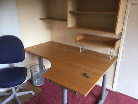 Oak corner office desk and matching wall cup-boards