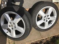 "X4 Vauxhall SRI 17"" alloy wheels and tyres."