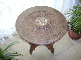 ANTIQUE CARVED INDIAN FOLD AWAY TABLE THREE LEGS