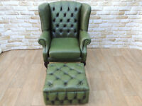 Leather Queen Anne Quality Armchair with footstool storage (Delivery)