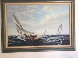 Lovely one of boat painting, oil on canvas.