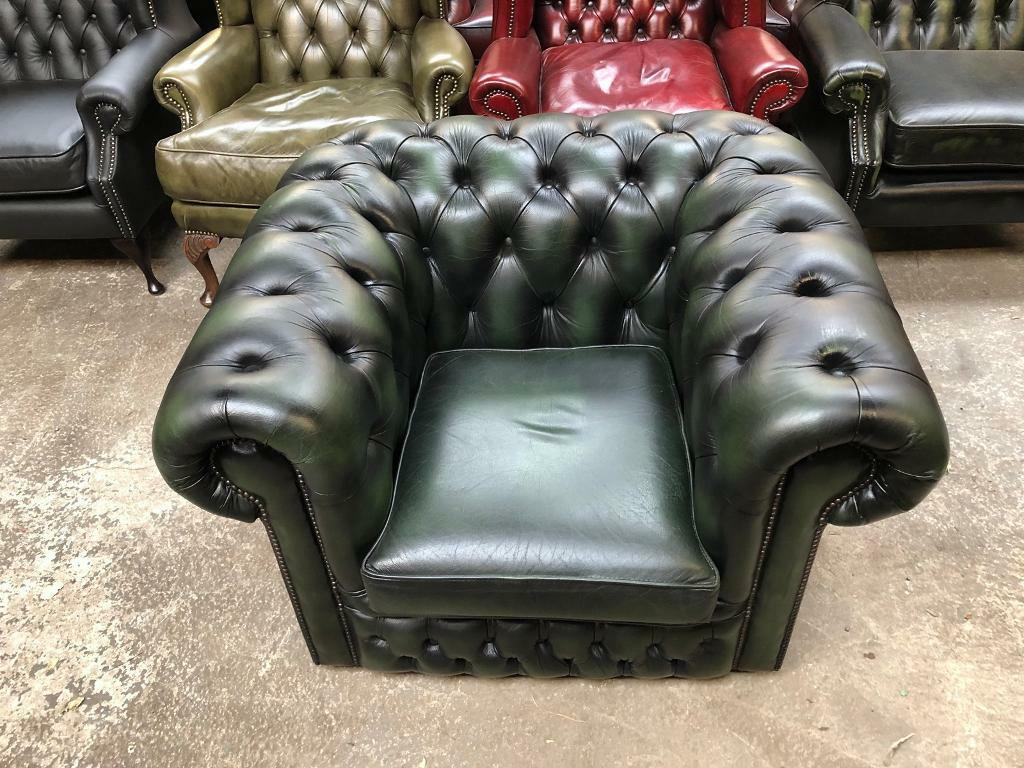 Stunning Vintage Green Leather Chesterfield Club Chair Uk Delivery In Sunderland Tyne And Wear Gumtree