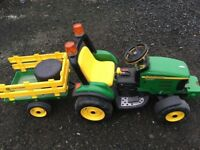 John Deere battery powered tractor and trailer