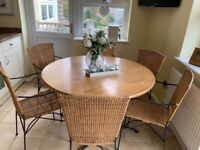 Dining table & chairs, wood and whicker