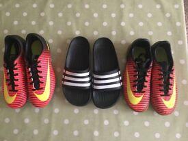 Boys Nike football boots & Adidas sliders size 2