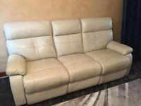 cream leather recliner 3 months old No marks