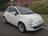 CAT C White 2009 Fiat 500 Lounge 3dr 32000 Miles With Pan Roof