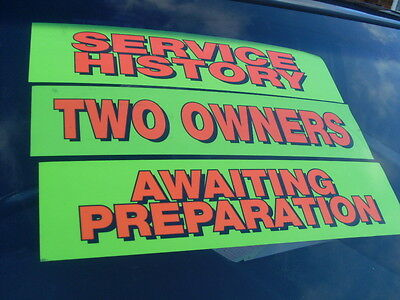 Any 5 For £10 Car Vehicle Sale Signs Stickers Cling Re-usable Over 40 phrases