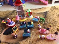 Various Peppa Pig play sets with figures