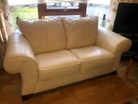Cream Leather Couch Sofa x2