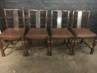 Four lovely vintage oak dining Chairs in lovely solid condition