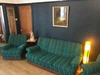 Vintage retro kitsch 60's sofa arm chairs 3 piece suite settee mancave blue green