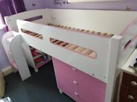 Cabin bed with desk, draws and storage unit