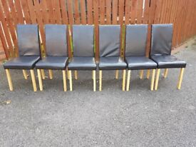 6 Brown Faux Leather Chairs FREE DELIVERY 244