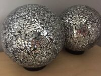 2 x bedside lamps - Crackle effect glass