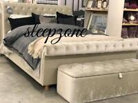 Chesterfield sleigh designer bed now on Christmas sale order now pay at your door