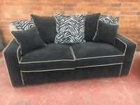 New Furniture Village Black Sofa Suite - Can Deliver