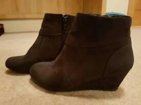 Debenhams wedge zip up ankle boots - size 4