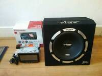 """Pioneer 7"""" Double Din DVD Player AVH-X5500BT AND 12"""" Vibe Slick SLR Active Sub"""