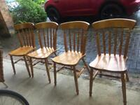 Solid Pine Dining Chairs x 4