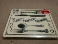 "Set of 6 brand new placemats ""eat, drink and be merry"""