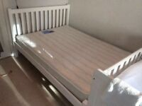 SOLD- beautiful white wooden bed from John Lewis and Silentnight mattress