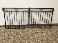Pair of Black Metal Driveway Gates