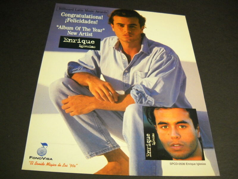 ENRIQUE IGLESIAS New Artist - Album Of The Year VINTAGE Promo Poster ad mint