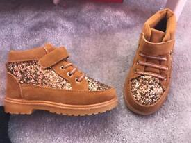 Children's Glitter Brown Boots - Sizes 9-13