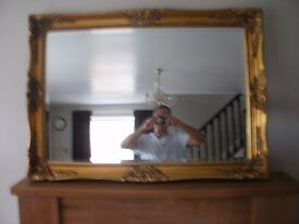 MIRROR , LARGE ORNATE GOLD TRADITIONAL
