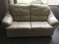 Cream 2/3 seater leather sofa bed VGC