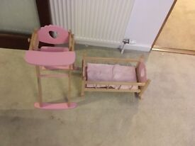Doll's wooden crib and high chair