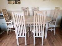 Limed Oak extending dining table & 6 chairs with matching sideboard