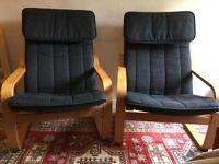 Ikea POÄNG Armchairs oak veneer black cushions
