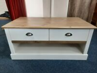 NEW White/Pine 2 Drawer Coffee Table