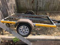Motorbike trailer holds up to 3 bikes mini light alloys fully galvanised needs light board