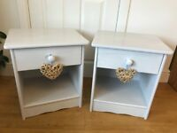 GREY SHABBY CHIC BEDSIDE TABLES