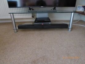 Clear glass TV stand 2 shelves