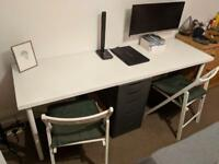 IKEA DESK, CHAIRS AND DRAWER UNIT