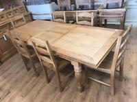 1.8m extending to 2.3m oak turned leg dining table
