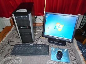 Tower Computer complete with monitor, keyboard and mouse and leads