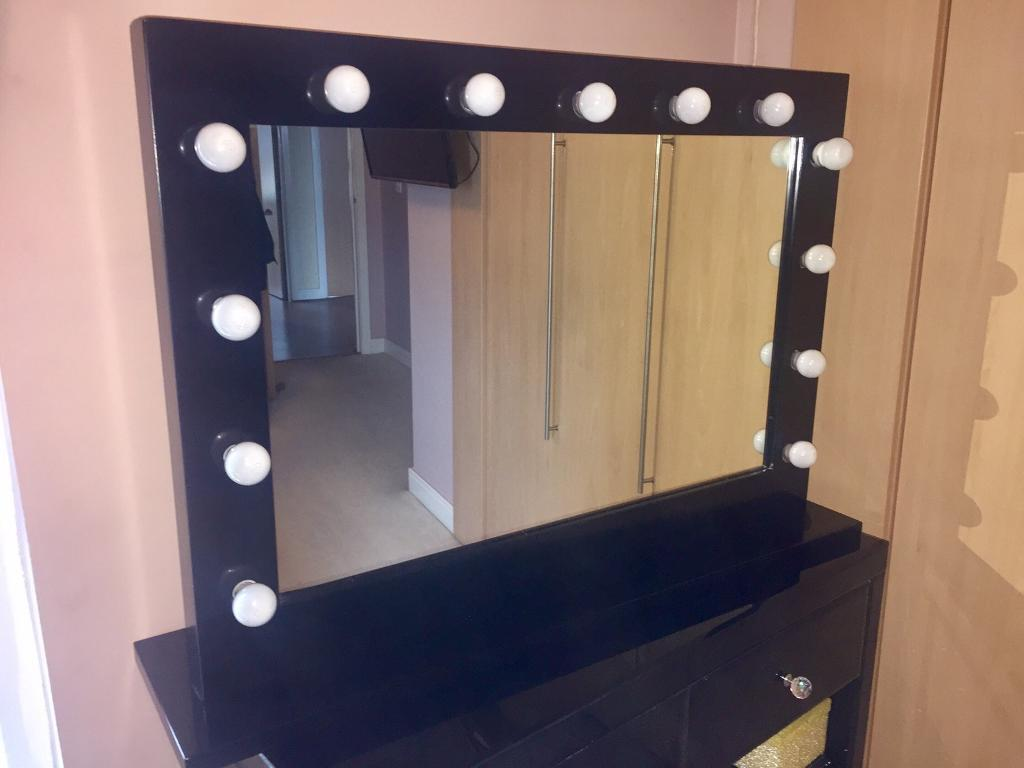 High Gloss Black Hollywood Style Makeup Dressing Table Mirror With - Black gloss dressing table