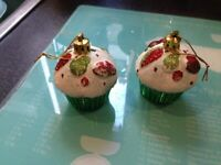 Christmas green white & red hanging cupcake decorations x2