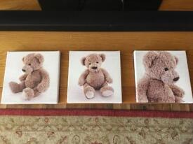Teddy bear canvas x3