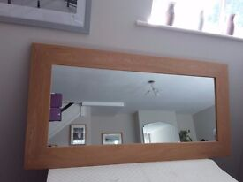 Natural Solid Oak Wall Mirror - As New Condition