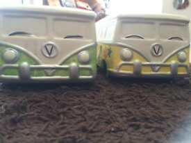 Pair of ceramic campervan planters