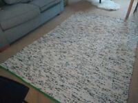 Ikea flat woven off white and black rug - SJOSLEV