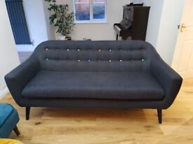 Made .com sofa Ritchie grey with rainbow buttons 3 seater