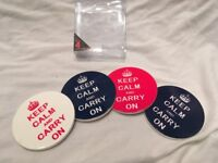 CUP COASTERS HOLDERS NOVELTY GIFT KEEP CALM AND CARRY ON CUP COASTERS