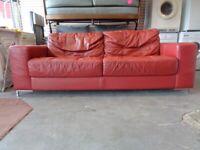 Violino Italian Leather Sofa in Red